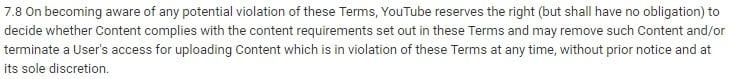 YouTube Condiciones de Servicio Cláusula de Rescisión