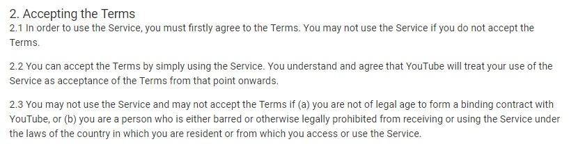 YouTube Nutzungsbedingungen: Klausel über die Annahme der Nutzungsbedingungen