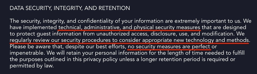 Disney Plus Privacy Policy: Data Security, Integrity and Retention clause