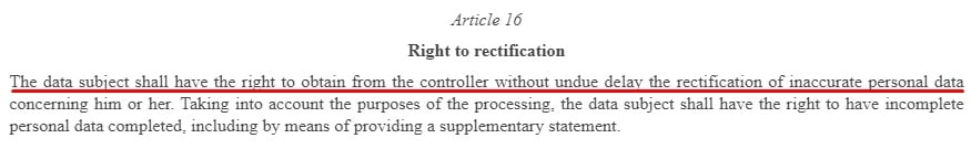 EUR-Lex GDPR: Article 16 - Right to Rectification