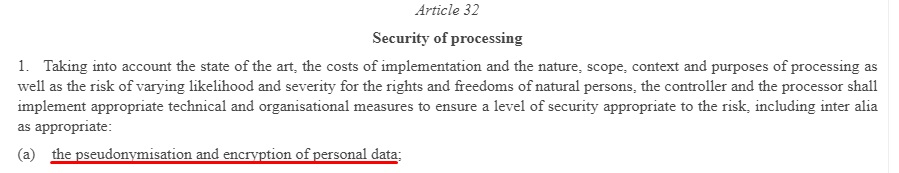 EUR-Lex GDPR: Article 32 - Security of Processing - Section 1