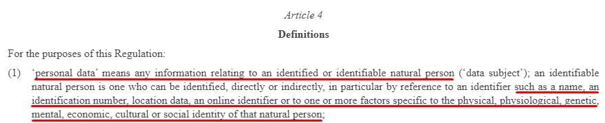 EUR-Lex GDPR: Article 4 Definitions - Personal Data