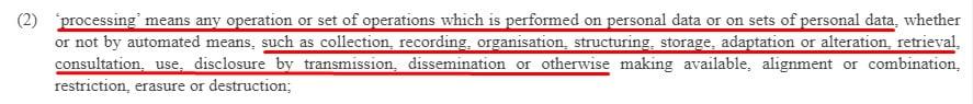 EUR-Lex GDPR: Article 4 Definitions - Processing