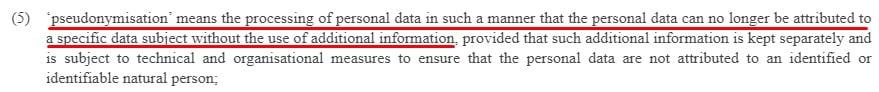 EUR-Lex GDPR: Article 4 Definitions - Pseudonymisation