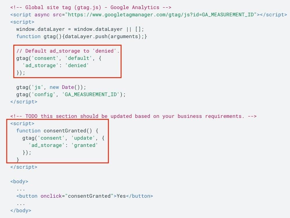 Google for Developers: Adjust tag behavior based on consent - example screenshot