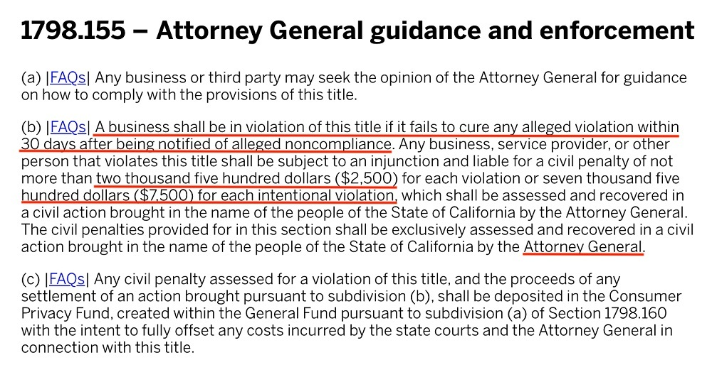 Bryan Cave Leighton Paisner: CCPA Section 1798 155 - Attorney General Guidance and Enforcement with fines highlighted