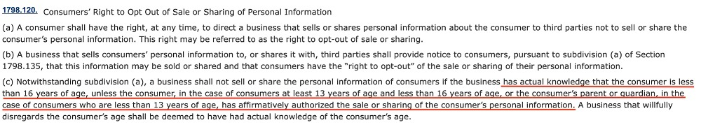CCPA Section 1798 120 - Consent from minors requirements