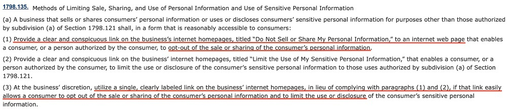 CCPA Section 1798 135 - Definition of Do Not Sell Page V2