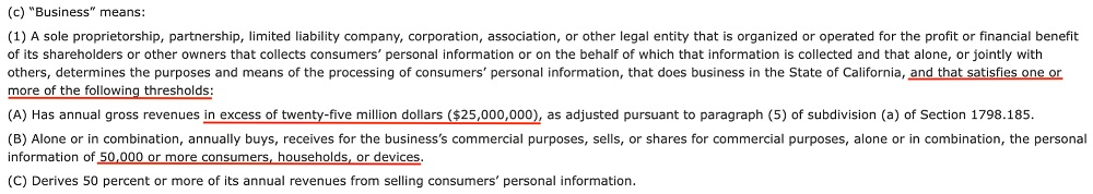 CCPA Section 1798 140 - Definition of Business V2