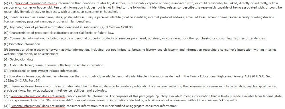 CCPA Section 1798 140 - Definition of Personal Information V2