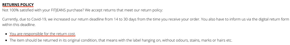 FITJEANS Returns Policy; Return shipping cost section