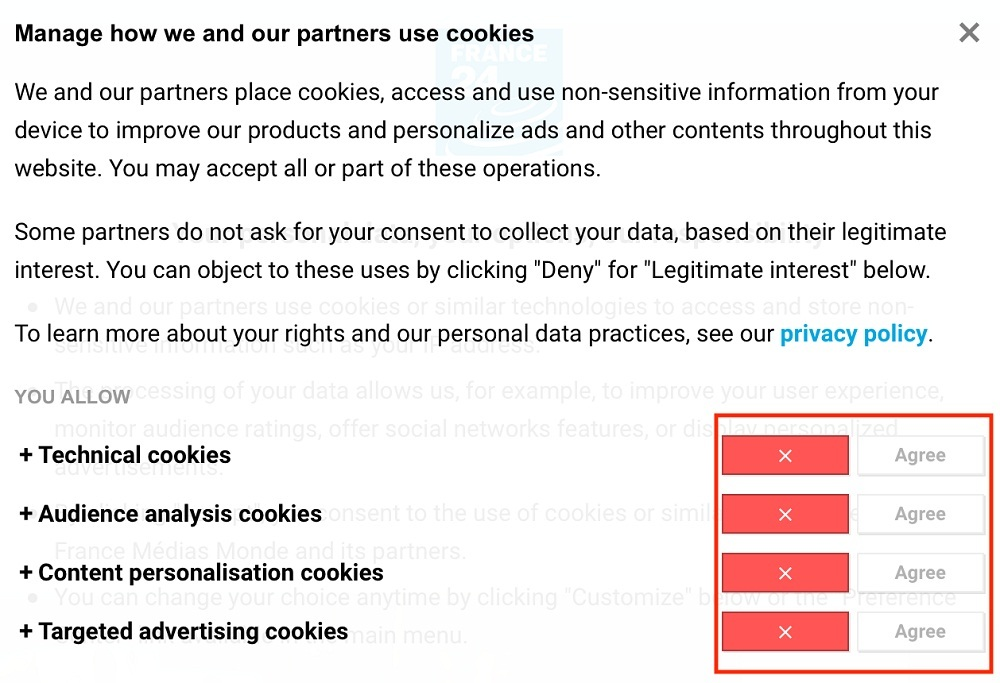 France 24 cookie consent notice with settings section highlighted