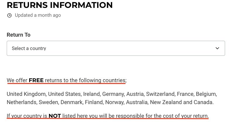 Gymshark Returns and Refunds Policy: Free returns to the following countries section