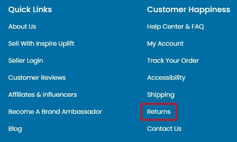 Inspire Uplift website footer with Returns Policy link highlighted