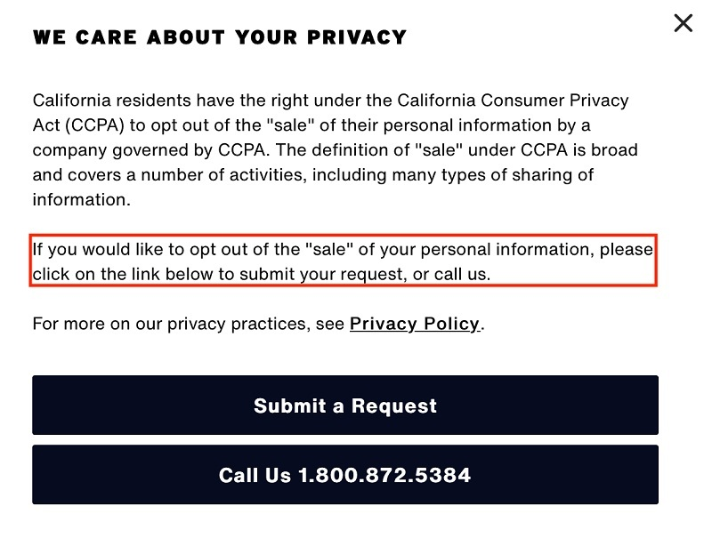 levis-do-not-sell-personal-information-page-opt-out-section-highlighted