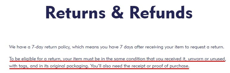 Mini Smart World Returns and Refunds Policy: Eligibility for returns section highlighted