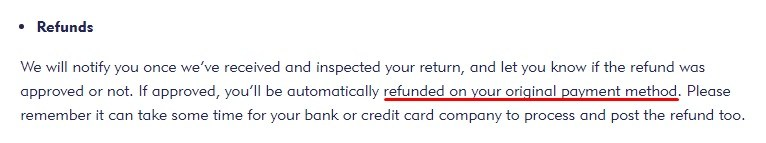 Mini Smart World Returns and Refunds Policy: Refunds to original payment method section highlighted