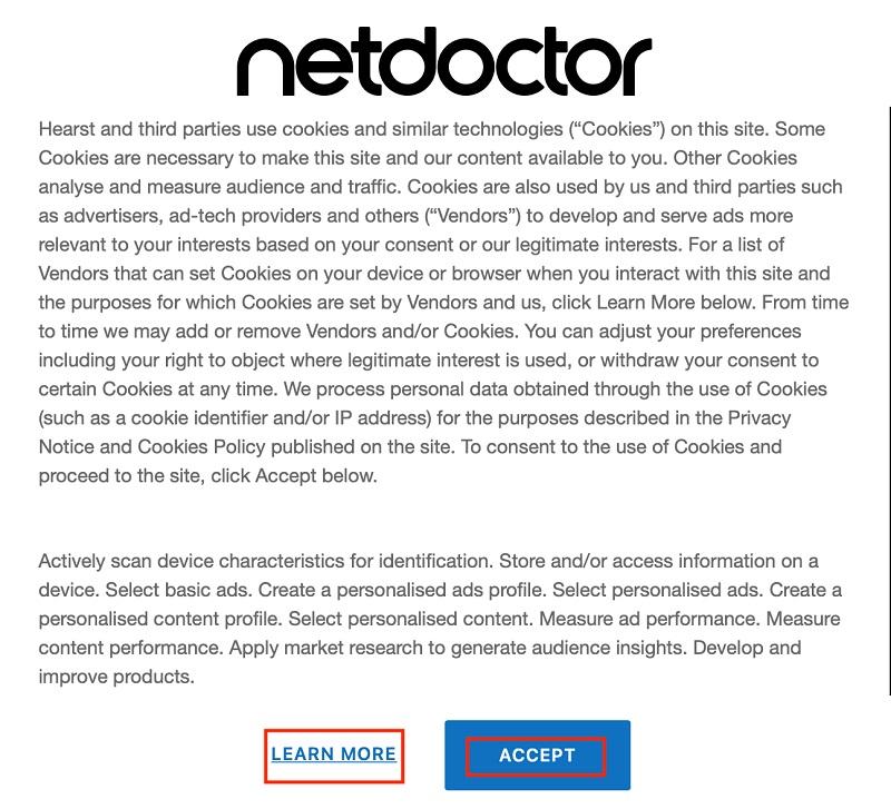NetDoctor cookie wall