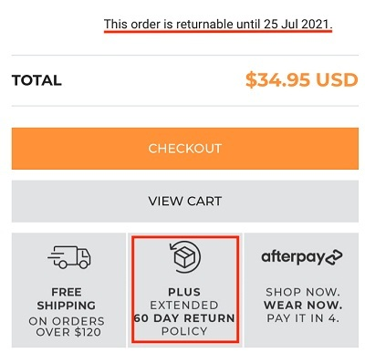 Ryderwear checkout form with Return Policy section highlighted
