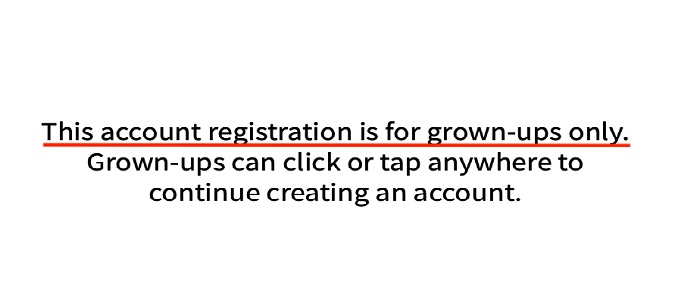 Sesame Street Account registration for adults only disclaimer