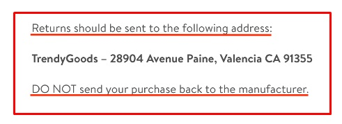 Trendy Goods Returns Policy: Mailing address for returns
