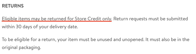 Trendy Goods Returns Policy: Store credit only section highlighted
