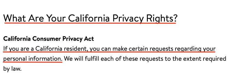 Walmart Privacy Policy: CCPA clause