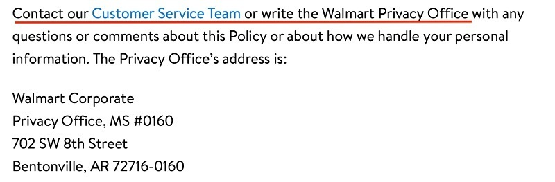 Walmart Privacy Policy: Contact clause