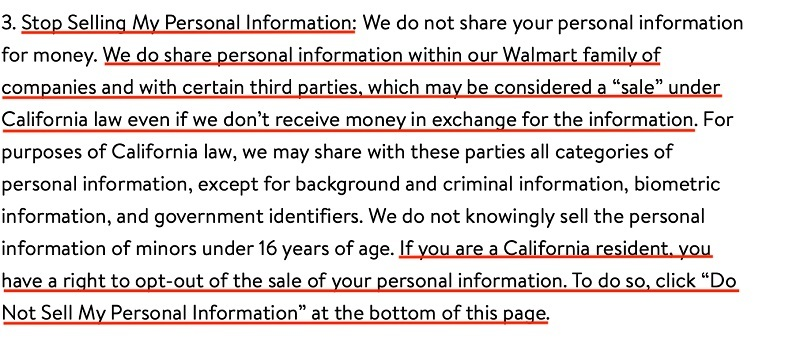 Walmart Privacy Policy: Stop Selling My Personal Information clause