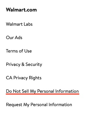 Walmart website footer with Do Not Sell My Personal Information page link highlighted