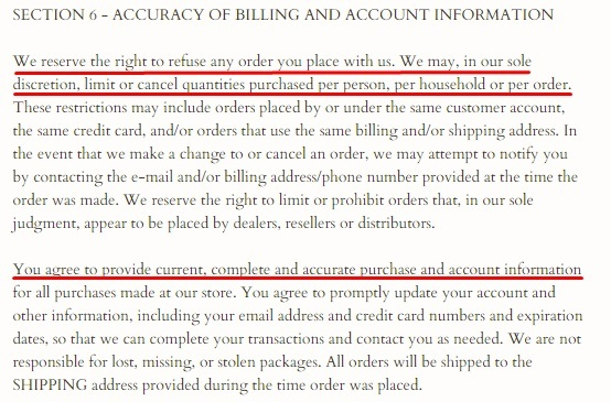 Adorned Vintage Terms of Service: Accuracy of Billing and Account Information clause