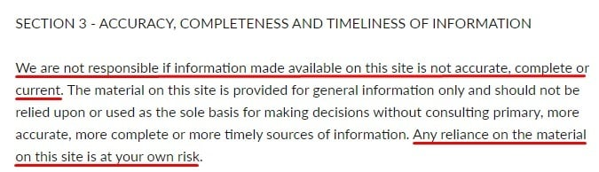 Bluecrate Terms and Conditions: Accuracy, completeness and timeliness of information clause excerpt
