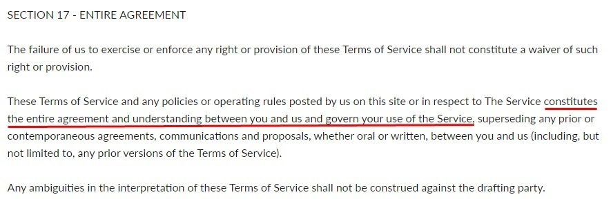 Bluecrate Terms and Conditions: Entire Agreement clause