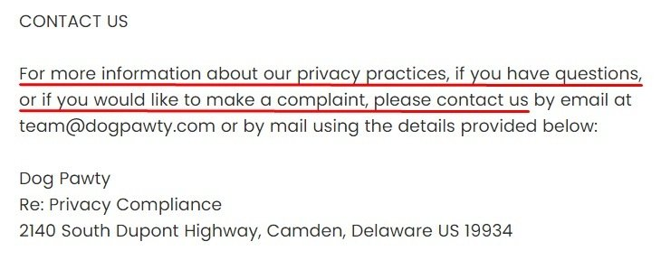 Dog Pawty Privacy Policy: Contact clause