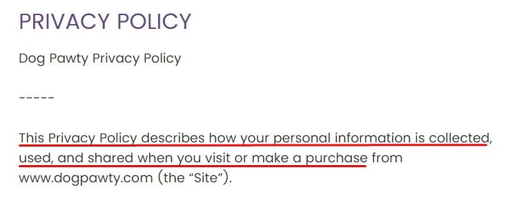 Dog Pawty Privacy Policy: Introduction section