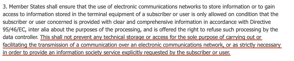 ePrivacy Directive Article 5 Section 3 with Necessary Cookies section highlighted