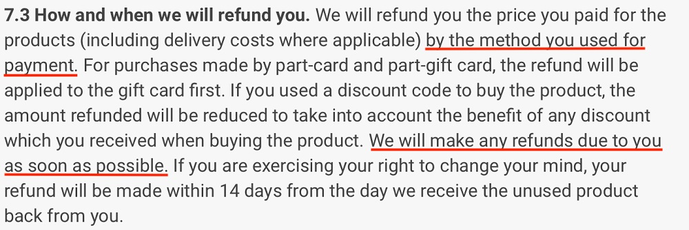 Gymshark Terms and Conditions: How and when we will refund you clause