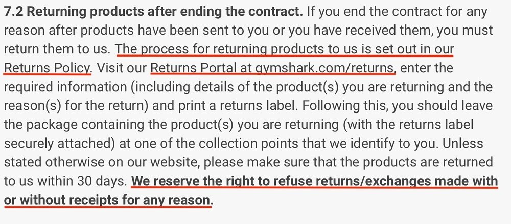 Gymshark Terms and Conditions: Returning products after ending the contract clause