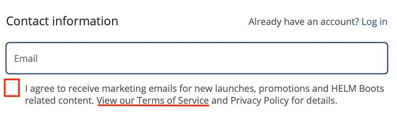 HELM Boots Create Account form with checkbox to agree to marketing emails and Terms of Service link highlighted