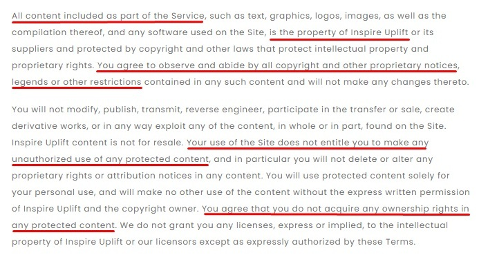 Inspire Uplift Terms and Conditions: No Unlawful or Prohibited Use Intellectual Property clause excerpt
