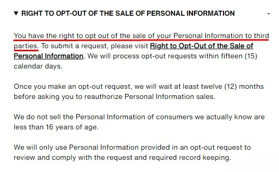 Levis Privacy Policy: CA Consumer Rights Clause - Opt out of the sale of personal information section
