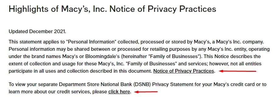 Macys Highlights of Privacy Practices with links to other agreements highlighted