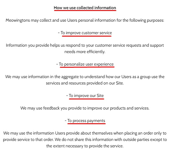 Meowingtons Privacy Policy: How we use collected Information clause excerpt