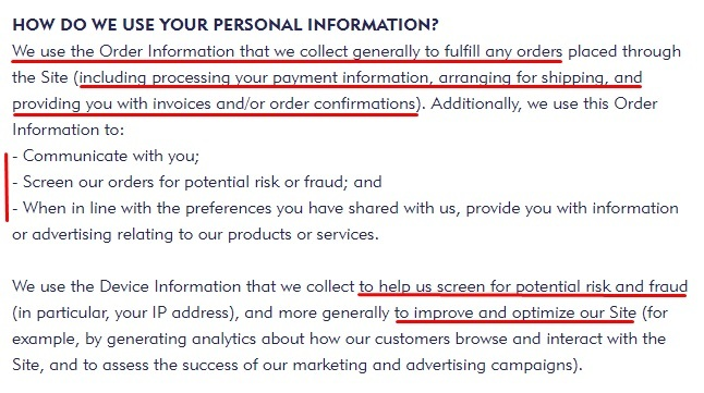 Mini Smart World Privacy Policy: How do we use your personal information clause