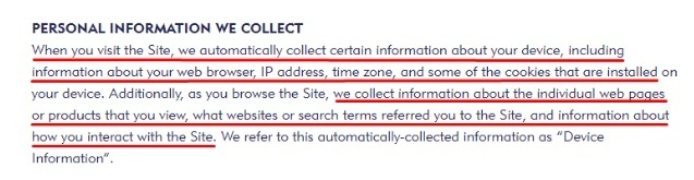Mini Smart World Privacy Policy: Personal Information We Collect clause - Specifics excerpt