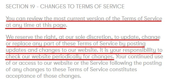 Partake Foods Terms of Service: Changes to Terms of Service clause