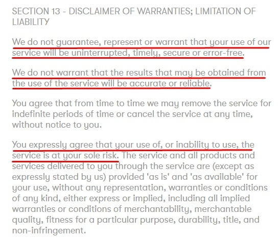 Partake Foods Terms of Service: Disclaimer of Warranties Limitation of Liability clause - Warranty Excerpt