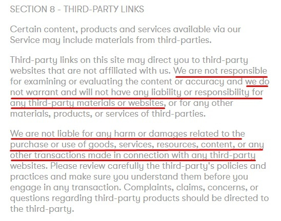 Partake Foods Terms of Service: Third-Party Links clause