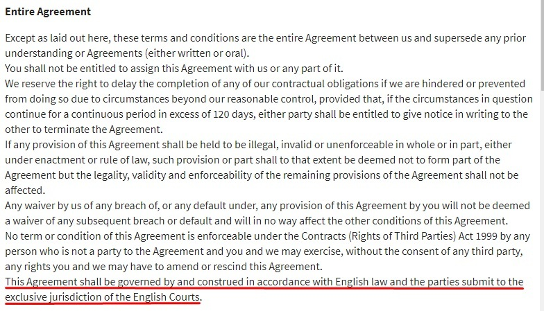 Pour Moi Terms and Conditions: Entire Agreement clause - Governing law section