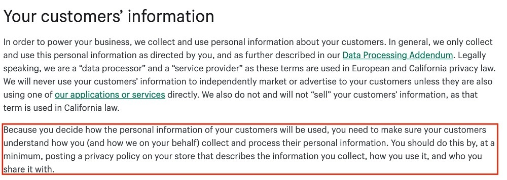 Shopify Privacy Policy: Your customers information clause
